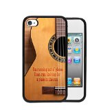 Acoustic Guitar Country Music Quote Apple iPhone 4/4s/4G Rubber TPU Silicone Phone Case