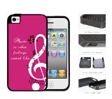 Music Quote Pink Background Musical Notes Design iPhone 4 4s 2-piece Dual Layer High Impact Black Silicone Cover