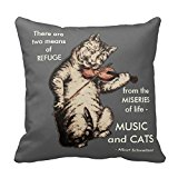 Vintage Cat Playing Fiddle Art Music Quote Throw Pillow Case